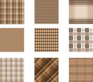 Seamless background set of plaid pattern, illustration. Nine plaids vector illustration