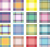 Seamless background set of plaid pattern, illustration. Sixteen plaids royalty free illustration