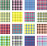 Seamless background set of plaid pattern, illustration. Sixteen plaids vector illustration