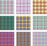 Seamless background set of plaid pattern, vector illustration Stock Photos