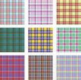 Seamless background set of plaid pattern, vector illustration Stock Photos