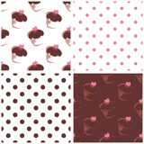 Seamless vector background set with polka dots and. Cupcakes. White, pink and chocolate brown sweet pattern collection for cute dekstop wallpaper or website Royalty Free Stock Photos