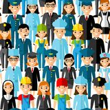 Seamless background with set of profession people icons. Royalty Free Stock Photography