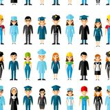 Seamless background with set of profession people icons. Royalty Free Stock Photos