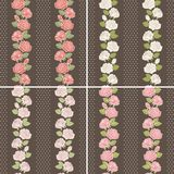 Seamless background set of vintage flowers Royalty Free Stock Image