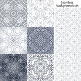 Seamless background set. Vintage geometric textures. Lace pattern. Decorative background for card, web design and etc. Royalty Free Stock Image