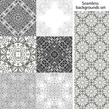 Seamless background set. Vintage geometric textures. Lace pattern. Decorative background for card, web design and etc. Royalty Free Stock Photo