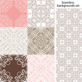 Seamless background set. Vintage geometric textures. Lace pattern. Stock Image
