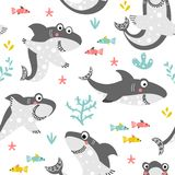 Seamless background with shark for kids vector illustration
