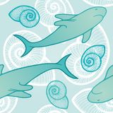 Seamless background with sharks. Royalty Free Stock Photography