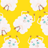 Seamless background with sheep hippies. Vector background. Seamless background with sheep hippies Stock Photo