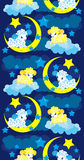 Seamless background with a sheep in the night sky. Sheep are floating on a cloud on the moon in the night sky the stars shine Stock Image