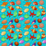 Seamless background with shells and starfish Stock Images