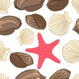 Seamless background with  shells starfish Royalty Free Stock Photography