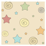 Seamless background with shells and stars Stock Photos