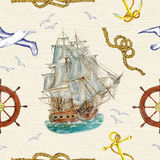 Seamless background with ship, gulls and sea symbols Royalty Free Stock Images