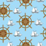 Seamless background with ship wheel and sailboat Royalty Free Stock Images