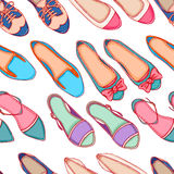 Seamless background with shoes - 3. Seamless background with different colored shoes on a white background Stock Photo