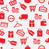 Seamless background with shopping icons. Seamless white background with red shopping and finance icons Stock Image