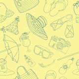 Seamless background with silhouettes of beach holiday objects Stock Photography