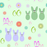 Seamless background with silhouettes of Easter bunnies Stock Photo