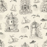 Seamless background with silhouettes of lightgouses, boats and fish. Seamless texture background with engraved lighthouses, boats, gulls and fish. Sea doodle Royalty Free Stock Photos