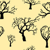Seamless background of silhouettes of trees. Stock Photo