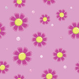 Seamless background of simple pink flowers Stock Photos