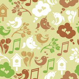 Seamless background with singing birds Stock Image