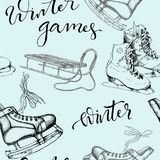 Seamless background with sketch ice skates. Sledge and modern hand drawn lettering, vector illustration Royalty Free Stock Image