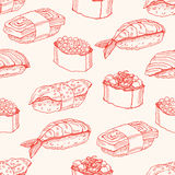 Seamless background with sketch sushi Stock Image