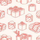 Seamless background with sketch sushi Stock Photo