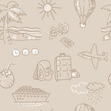 Seamless background, Sketch traveling pattern. Seamless pattern neutral sand background sketch drawings travel Stock Photos