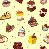 Seamless background with sketches of cakes and pastries. Sketches of scrumptious cupcakes and berry pie and chocolate tiered cake, decorated by butter cream Stock Image