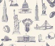 Seamless background with sketches of symbols of the USA. Seamless pattern with sketches of architectural and historical symbol of the United States Royalty Free Stock Photography