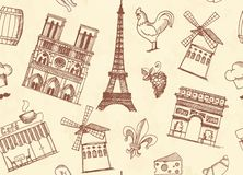 Seamless background with sketches on the theme of Paris and France Royalty Free Stock Photography