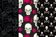 Seamless background with skulls Royalty Free Stock Images