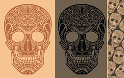Seamless Background with skulls Stock Photography