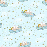 Seamless background with a sleeping baby on a cloud Royalty Free Stock Photography