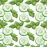 Seamless background from slices cucumber Royalty Free Stock Images