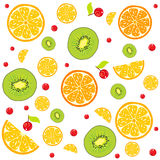 Lemon background. Seamless background slices of juicy kiwi, lemon and red berries Stock Image