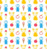 Seamless Background with Smiling Kids with Ice Cream, Apples Royalty Free Stock Images