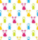 Seamless Background with Smiling Kids Royalty Free Stock Images
