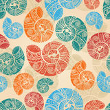 seamless background with snail shells Royalty Free Stock Images