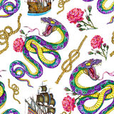 Seamless background with snake, ship and rose Royalty Free Stock Image