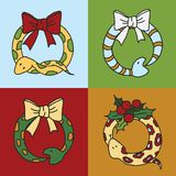 Cute snake wreaths for the New year. Seamless background with snakes, mistletoe and snowflakes Stock Illustration