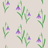 Seamless background with snowdrops. Royalty Free Stock Photography
