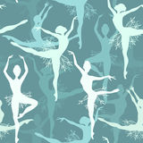 Seamless background of snowflake ballet dancers Stock Photography