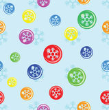 Seamless background of snowflake on colorful ball Stock Photos