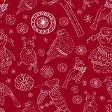 Seamless background with snowflakes and birds Royalty Free Stock Images